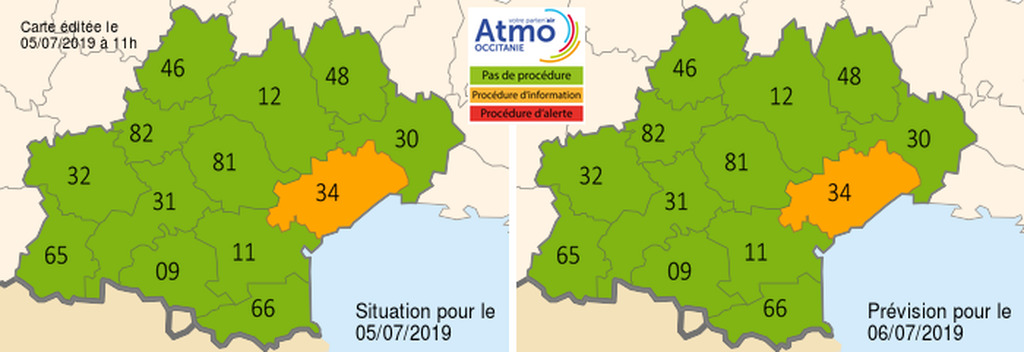 La carte de l'épisode de pollution